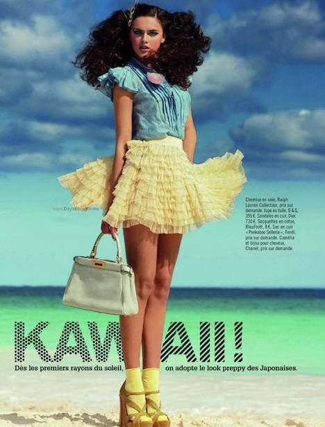 Playful Ruffled Skirts - Glamour France is Preppy Pretty for Spring