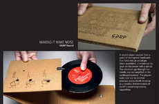 Papercraft Phonographs - GGRP Corrugated Cardboard Envelope Unfolds Into Record Player