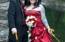 Red Dress Tattooed Nuptials