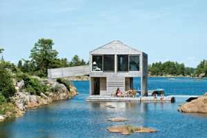 Lake Huron Home to a Floating House by Michael Meredith of MOS Architects