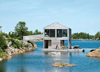 Floating Summer Homes - Lake Huron Home to a Floating House by Michael Meredith of MOS Architects