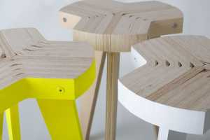 The Offset Stool by Giorgio Biscaro Redefines the Use of Plywood