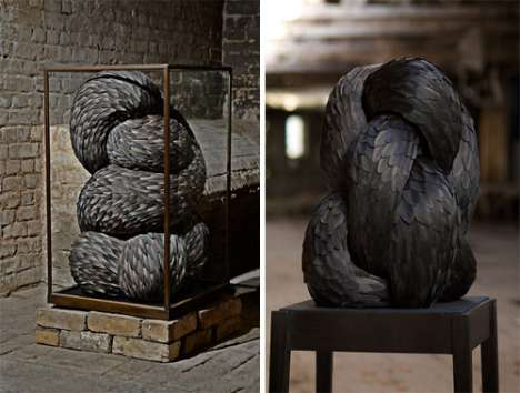 Ferocious Feather Sculptures - Kate MccGwire Uses Birds and Snakes for Inspiration
