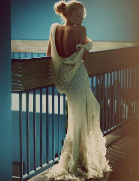 Backless Beaded Gowns - Actress Amber Heard Graces French Revue de Modes