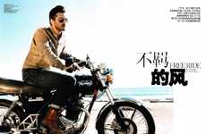 Well-Dressed Biker Editorials - 'Free Ride' in GQ China Takes a Spin Down the Style Road