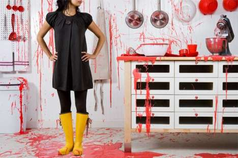 Red Splattered Kitchens - Chris Korbey is One Photographer That Likes to Mess Around