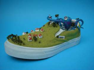 Shoe Dioramas - Jethro Haynes Creates 'The Amorous Octopus' on a Vans Slip-On