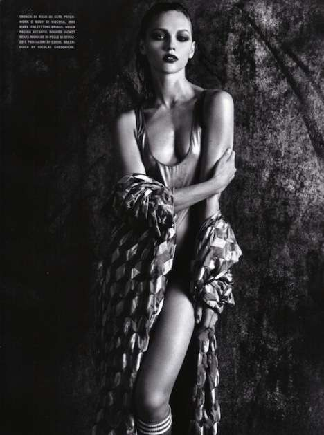 Geometric Patterned Tops - Italian Vogue Shows off Metallics in Black & White
