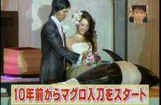 Sushi Wedding Cakes - Japanese Couples Cut Tuna, Not Cake