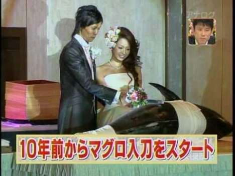 Sushi Wedding Cakes - Japanese Couples Cut Tuna, Not Cake