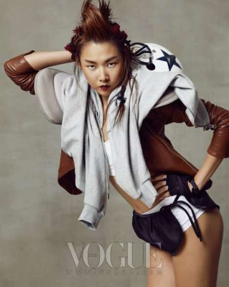 Fashionable Football Editorials - 'Wild Cats' in Vogue Korea April is an All-American Treat