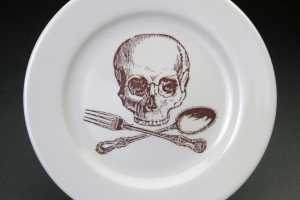 Skulls and Crossbones on Plates and Cups