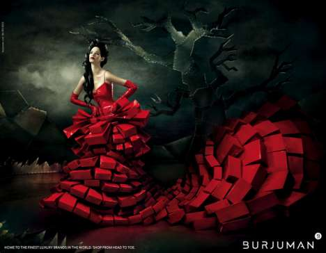 Boxy Blood-Red Dresses - The Burjuman Ads by Mohanad Shuraideh