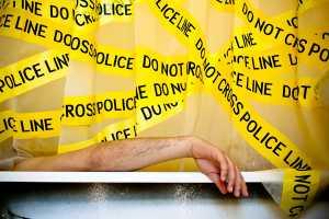 'Shower Curtain Police Line' by Aleksandr Mukomelov Sets a Boundary