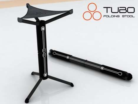Foldable Tripod Seating - The Handy TUBO Folding Stool by Jose Ignacio Martinez