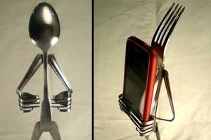 ForkedUpArt iSpoons and iForks Hold Your iPhone While You Eat