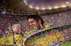 Giant Cricket Star Mosaics - The Indian Premier League Print Campaign May Induce the Wave