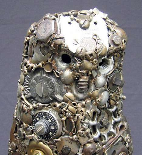 Precious Junk Statuettes - Joe Pogan Creates Metal Animal Sculptures from Nails and Locks