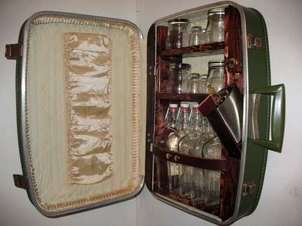 Upcycled Suitcase Liquor Cabinet