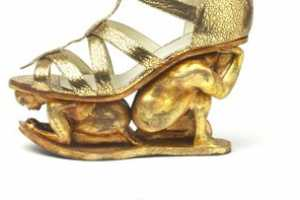 The Rupert Sanderson Golden Shoes Bring Metallics to Trampling New Heights