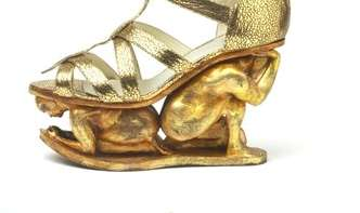 Man-Crushing Sandals - The Rupert Sanderson Golden Shoes Bring Metallics to Trampling New Heights