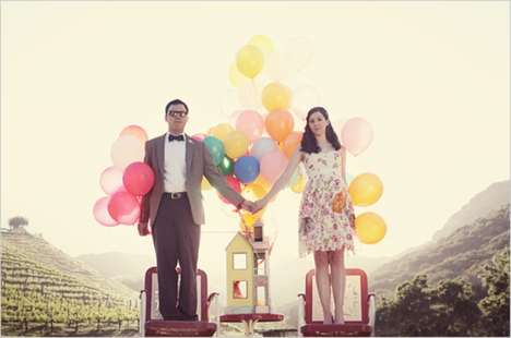 Ballooning Engagements - The Up Engagement Photoshoot is Too Cute for Words