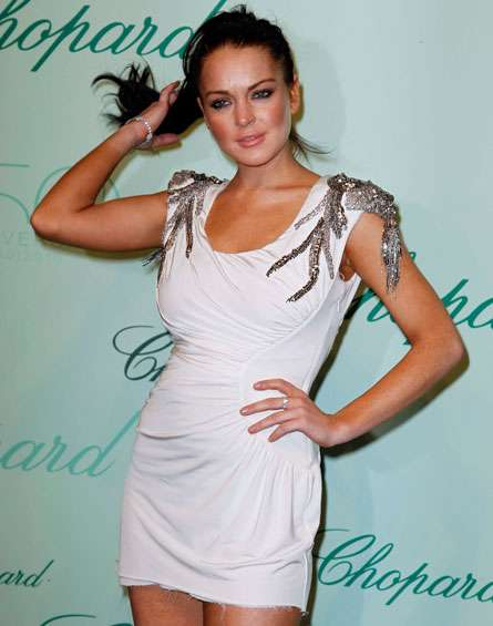 Lindsay Lohan in a Torn Dress