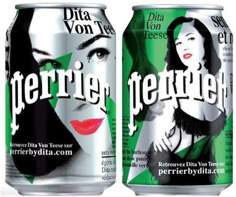 Dita von Teese Perrier water bottles