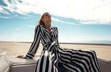 Super Striped Jumpsuits - Solve Sundsbo Shoots Julia Stegner with the Top Down