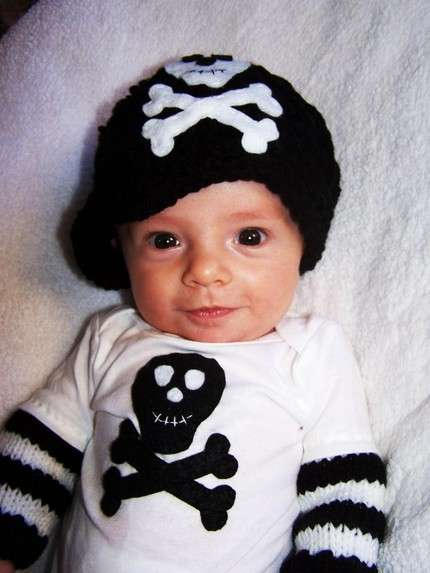 Pirate Skull and Crossbones Beanie and Onesie