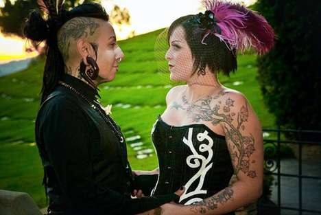 Holiday-Themed Queer Weddings - Pinkee and Pony Seal the Deal in a Cemetery