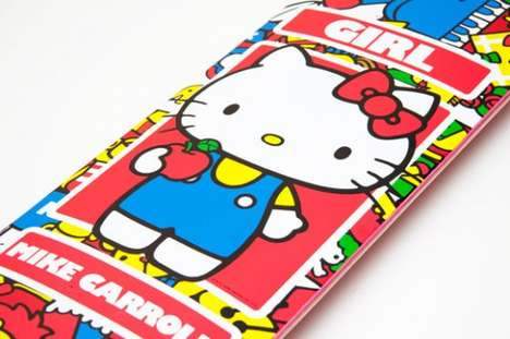 Cutesy Skater Gear - The Hello Kitty 35th Anniversary Collection Skateboard and Clothes are Rad