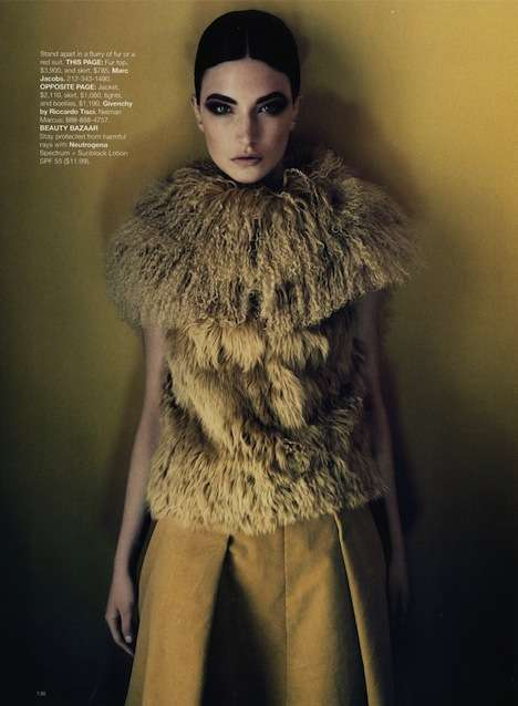 Furry Mustard Vests - 'What's Next' in Harper's Bazaar Shows Tailored Fashions for Fall