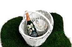 Bubbly Picnic Sets - The Curvée Belle Epoque Perrier-Jouet Champagne Bottle and Basket