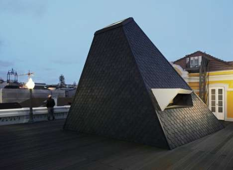 Rooftop Pyramid Rooms - This Grande Hotel Do Porto Extra Room Has Fishscale Walls