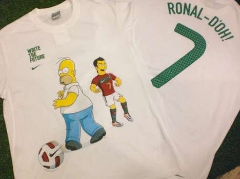 Simpsonized Soccer Shirts - The Nike 'Write the Future' Campaign Continues with Ronal-doh Tees