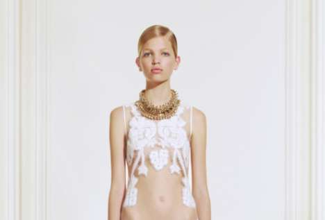 Transparent Flowered Frocks - The Riccardo Tisci Givenchy Resort 2011 Collection has a Holy Glow