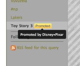 Selling Real-Time Trends - Disney/Pixar Promotes With 'Toy Story 3'  Twitter Trending Topic Ad