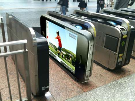 iPhone Turnstiles - Tokyo Subway Entrance is Turned into a Gigantic iPhone Ad