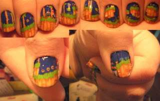 Craftster-Video Game girl fashion nail art