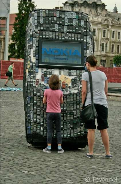 giant cell phone sculpture