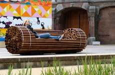 Log Ride Seating - The Pile Isle Bamboo Bench by Elena Goray is Amusement Park-Ready