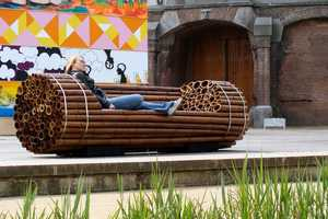 The Pile Isle Bamboo Bench by Elena Goray is Amusement Park-Ready