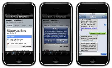 SMS Introductions - Gatsby Mobile App Uses Foursquare to Introduce Like-Minded People