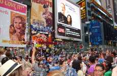 Flash Mob Bubble Baths - This Bubble Fight in Times Square Gets Strangers Clean
