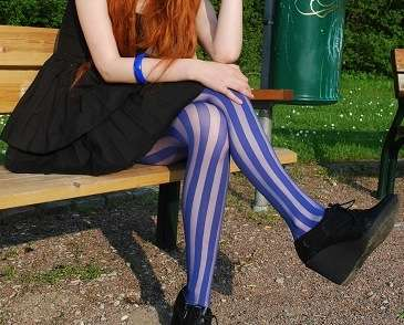 Candy Cane Tights - Stockholm's Cosette Munch is Never Without a Cigarette & Nylons
