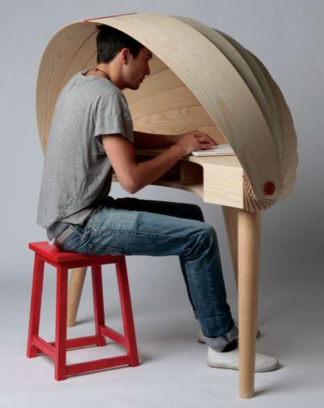 Instant Privacy Domes - The Duplex Workspace Desk Has a Convenient Built-In Cover