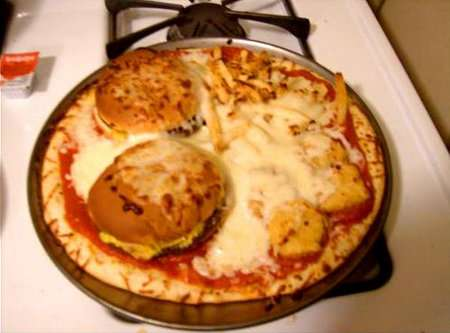 Fast Food Pizza Toppings  - The American Pizza Uses Hamburgers and Fries as Delicious Toppings