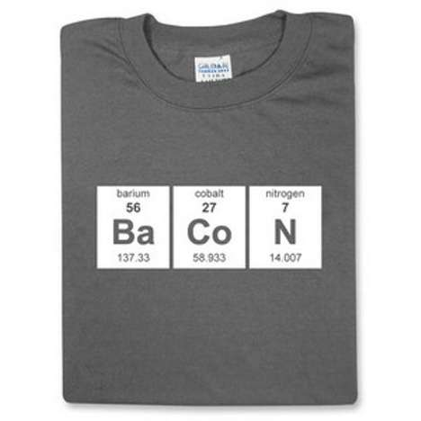 Internet Meme Science Shirts - The Periodic Table Bacon Shirt Brings Crispiness Back to Chemistry