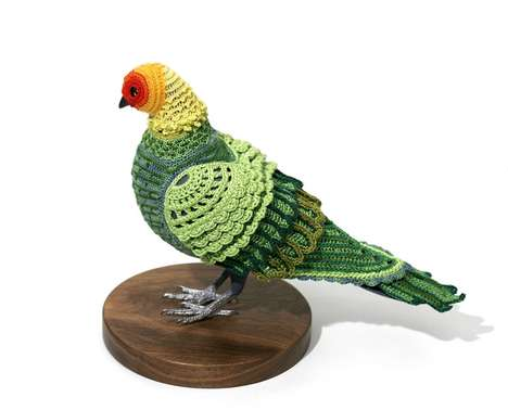 Crochet Bird Clothing - 'Pigeons in Costume' by Laurel Roth Features Some Warm Furry Flyers